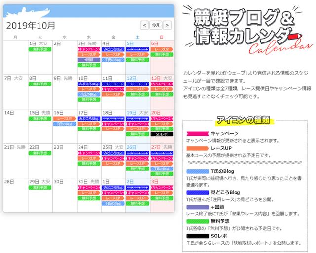 競艇ウェーブのカレンダー